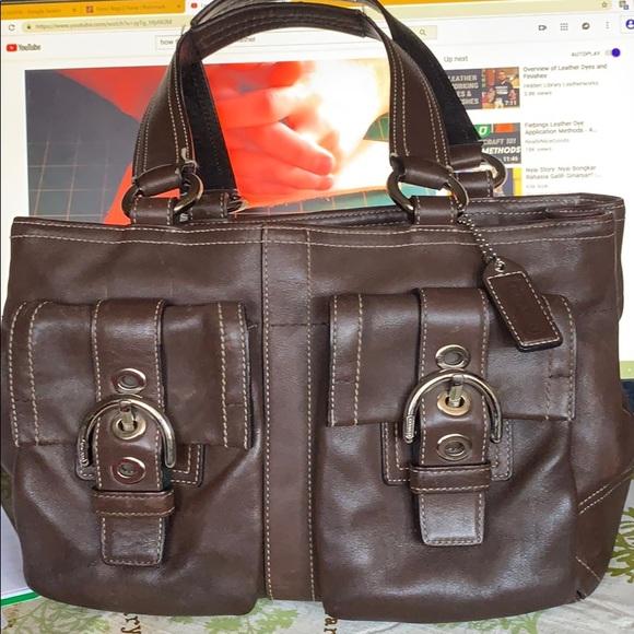 Coach Handbags - Coach soho brown buckled carryall handbag 8A09